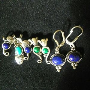 Q.T. Silver and Turquoise Pendants and Earings